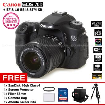 Harga CANON EOS 70D (WiFi) + EF-S 18-55 IS STM Kit 20.0MP 7.0FPS 19Point AF Full HD + Filter 58mm + SanDisk 16Gb + Screen Protector + Camera Bag + Attanta Kaiser 234