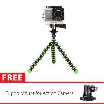 Harga Sport Cam Octopus Gorilla Mini Tripod Hijau With Mount for SJ4000/SJ5000, GoPro, Brica Alpha Edition & Xiaomi Yi