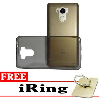 Softcase Silicon Ultrathin for Xiaomi Redmi 4 Prime - Black Clear + Free iRing