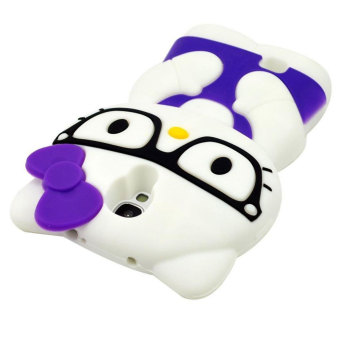 Leegoal Purple 3D Cute Glasses Hello Kitty Soft Silicone Case Cover for Samsung .