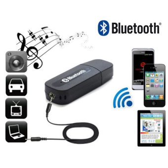 Harga Bluetooth Audio Music Receiver 3.5mm Dongle Stereo - Hitam