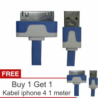 Harga Yumoto Kabel Data Pipih iPhone 4/4S 1 Meter + Buy 1 Get 1