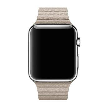 ... niceEshop 42mm Genuine Leather Loop With Magnet Lock Strap Replacement Band For Apple Watch Khaki