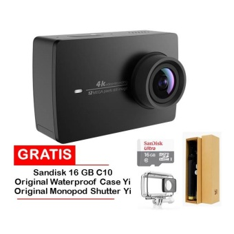 Harga Xiaomi Yi II International Version Wifi 4k Sports- Hitam+Sandisk 16 Gb+Yi Original Monopod With Remote Shuter+Waterproof Case Original