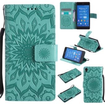 Sunflower pattern PU Leather Wallet Stand Flip Case Cover For Sony Xperia Z3 Case - intl