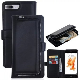 Harga iPhone 7 Plus Case, Zipper Wallet Case with Card Slots & Cash Storage - PU Leather Flip Case with Detachable Magnetic Hard Case for Apple iPhone 7 Plus - Black