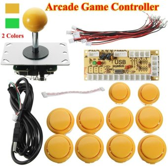 Harga Zero Delay Arcade Game Controller USB Joystick Kit Set for MAME Raspberry Pi (Yellow) - intl