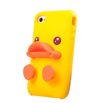 Harga 3D Cute Duck Design Silicone Back Phone Case Cover for Apple iPhone 5 5S 5G - Yellow