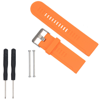 Harga Silicone Replacement Band Strap with Metal Clasp for Garmin D2 Fenix Fenix 2 Fenix 3 Fenix 3 HR Quatix Quatix 3 Tactix Orange