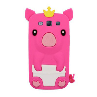 Detail Gambar Leegoal Hot Pink 3D Happy Crown Pig Soft Silicone Gel Case Cover for Samsung