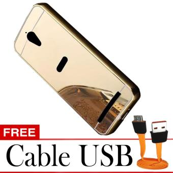 Case Bumper Mirror Asus Zenfone GO 5 ZC500TG - Emas + Free Cable USB Micro