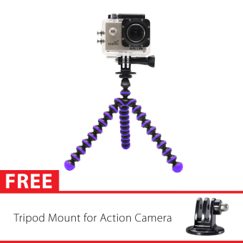 Harga Sport Cam Octopus Gorilla Mini Tripod Ungu With Mount for SJ4000/SJ5000, GoPro, Brica Alpha Edition & Xiaomi Yi