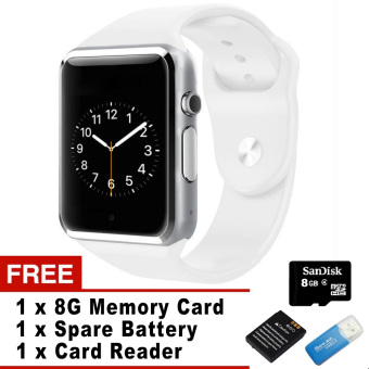 WristWatch Bluetooth Smart Watch Sport Pedometer With SIM Camera Smartwatch For Android Smartphone (White)