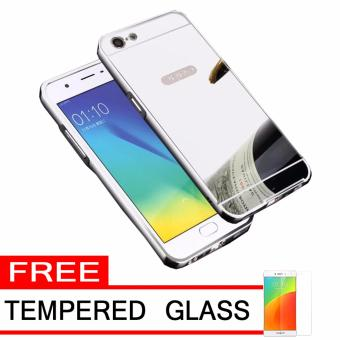 Case Metal for Oppo A39 Aluminium Bumper With Mirror Backdoor Slide - Silver + Free Tempered