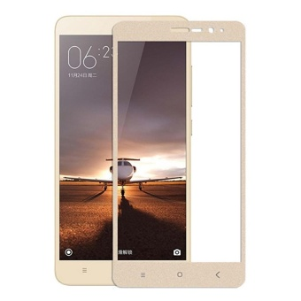 Harga 3D Full Cover Tempered Glass Warna Screen Protector for Xiaomi Redmi 3 Pro / 3s / 3x - Gold - 5 Buah