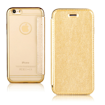Harga PU Leather + Electroplating Soft Clear TPU Flip Case Cover For Apple iPhone 6 Plus / iPhone 6s Plus (Golden)