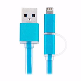 Harga Kable Data 2 in 1 Apple dan Android Lighthing Micro USB Kabel Data - Biru