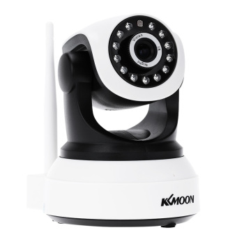 Harga KKMOON Wireless Wifi 720P HD H.264 P2P 1MP AP IP Network Home IR Security Camera P/T Webcam - Intl