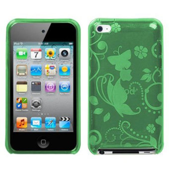 Leegoal Green Cute 2 Butterfly Flower Print TPU Case Cover for Apple iPod Touch 4th Generation