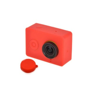 Harga Xiaomi Yi Action Camera Sport Kamera Silicon Case and Lens Cover - Merah