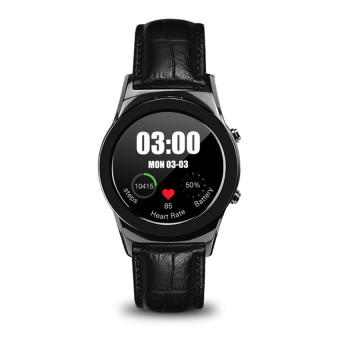 Harga LW01 round dial heart rate monitor pedometer smart watch(black)