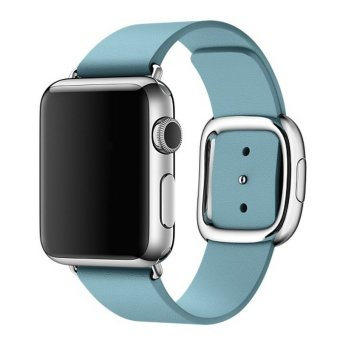 ... Bluesky Modern Buckle Genuine Leather Band Strap Replacement for Apple Watch iwatch 38MM Blue