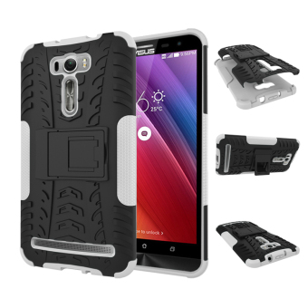 "Harga For ASUS ZenFone 2 Laser Case ZE601KL (6.0"") Case Heavy Duty Rugged Hybrid Dual Layer Kickstand Shockproof Protective Case Cover for ZenFone 2 Laser (6.0 inch) (White)"
