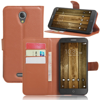 Harga PU Leather Wallet Case Cover For Alcatel Fierce 4 / Alcatel One Touch Pop 4 Plus (Brown) - intl