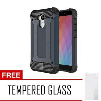 Case Tough Armor Carbon for Xiaomi Redmi 4 Prime - Biru Dongker + Free Tempered Glass