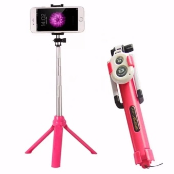 Harga Tongsis, Tomsis, Tripod / 3 in 1DS Bluetooth Selfie Stick DS - Pink