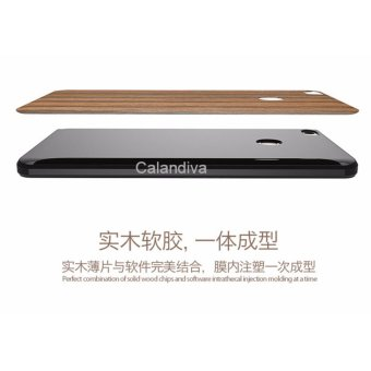 Calandiva Wood Texture TPU Full Protection Slim Softcase for Xiaomi MI Max Coklat .