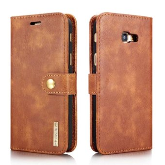 Harga Retro Real Genuine Leather Case for Samsung Galaxy A7 2017 Cases Luxury Stand Magnetic Flip Phone Cover Case (Brown) - intl