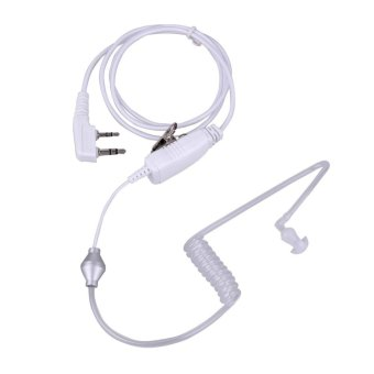 Harga 2Pin Acoustic Tube PTT Mic Earpiece for Baofeng Kenwood 2way Radio(White) - intl