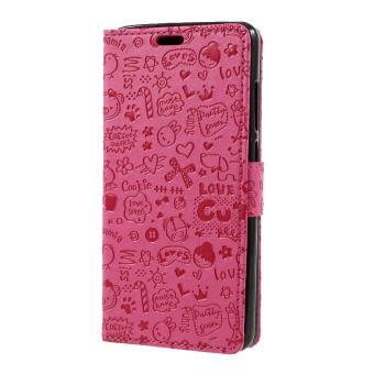Cartoon Graffiti PU Leather Case Wallet for Xiaomi Redmi Note 4 Phone Cases- Rose .