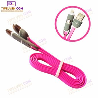Harga Yumoto Kabel Data Multifungsi 2 IN 1 - Iphone 5 & Android / Microusb to Lightning - Putih Lis Pink