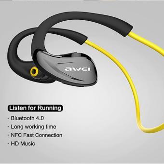AWEI A880BL Wireless Smart Sports Super Bass NFC Bluetooth Headset Stereo Earphones - intl .