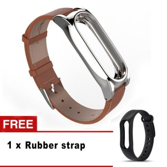 Harga New Mijobs Leather Strap For Xiaomi Mi Band 2 Wrist Straps Screwless Bracelet Smart Band Replace Accessories For Mi Band 2 - intl