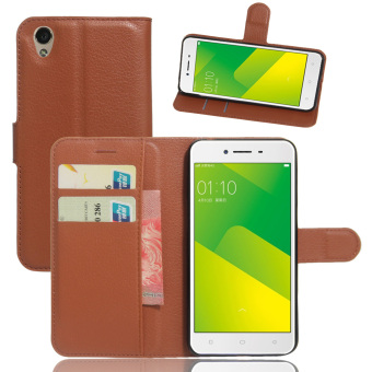 Harga Cyboris Cell Phone Case For Oppo A37 Phone Wallet Leather Folio Case With Card Slot Stand Function(108078 Brown) - intl