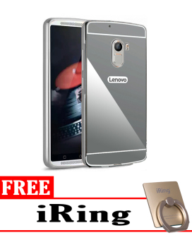 Case for Lenovo Vibe K4 Note Aluminium Bumper With Mirror Backdoor Slide - Black + Free
