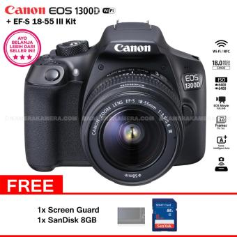 Harga Canon EOS 1300D (Wi-Fi) EF-S 18-55mm III + Screen Guard + SanDisk 8GB