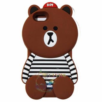 Harga QCF Silicone Case 3D Untuk Oppo A39 Soft Back Case Baby Bear With Baju Belang Hitam Putih - Boy Bear Brown