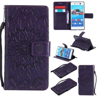 Sunflower pattern PU Leather Wallet Stand Flip Case Cover For Sony Xperia M5 Case - intl