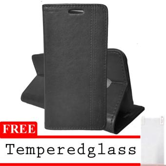 Harga Case Leather Eve For Iphone 4+ Free TemperredGlass - Black
