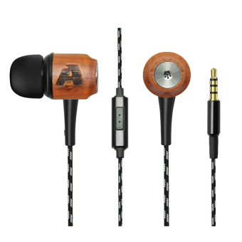 Arealer Premium Universal Genuine Wooden Red Sandalwood In-ear Earphone Headset Earbuds with Braided Weaved Cable Black - intl