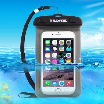 Harga HAWEEL Transparent Universal Waterproof Bag with Lanyard for iPhone, Galaxy, Huawei, Xiaomi, LG, HTC and Other Smart Phones(Black)