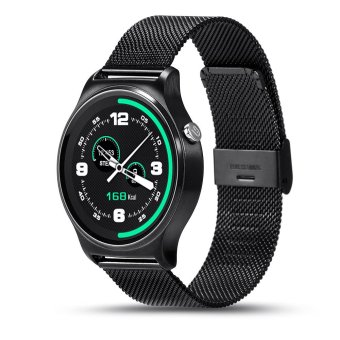 Harga BLN GW01 Smart Watch Bluetooth 4.0 SmartWatch Heart Rate Monitor For Android 4.3 iOS 7 IPS Round Screen Life Water Resistant (Black/Metal) - intl
