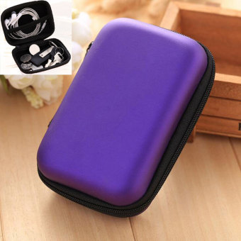 Harga Multi-function Mini Zipper Earphone SD Card Storage Bag Box Travel Carrying Pouch(Purple)