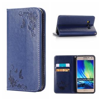 RUILEAN Leather Case For Samsung Galaxy A5 2015 Flower Skin Flip Wallet Pouch Stand Cover Navy