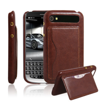 Harga PopSky PU Leather Bracket Shell Case for Blackberry Classic Q20 (Brown)