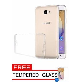 Hunter Softcase Silicon Ultrathin for Samsung Galaxy J7 Prime - Putih Clear + Free Tempered Glass